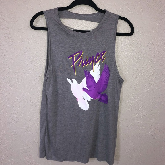 Prince Tops - Prince Distressed purple rain Doves Muscle Tank 🕊